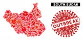 Outbreak Collage South Sudan Map And Red Rubber Stamp Watermark With Outbreak Caption. South Sudan M poster