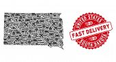 Transportation Collage South Dakota State Map And Rubber Stamp Watermark With Fast Delivery Caption. poster