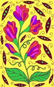 Sweet Pea - Floral Illustration. Colorful Plant Drawing. Graphic Psychedelic Multicolored Line Art.  poster