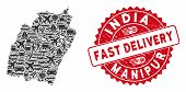 Shipping Collage Manipur State Map And Distressed Stamp Seal With Fast Delivery Badge. Manipur State poster