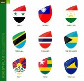 Rugby Flag Collection. Rugby Icon With Flag Of 9 Countries: Syria, Taiwan, Tajikistan, Tanzania, Tha poster