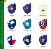 Rugby Flag Collection. Rugby Icon With Flag Of 9 Us States: Oregon, Pennsylvania, Rhode Island, Sout poster