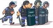 stock photo of truncheon  - The cartoon dogs in the police uniform are standing behind the shields - JPG