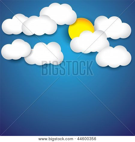 Vector Abstract Background- White Paper Clouds & Sun