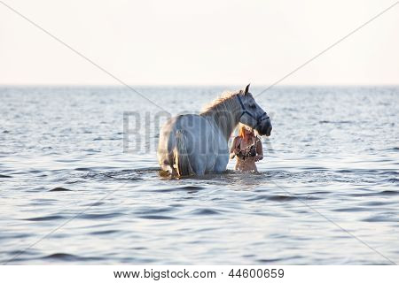 Girl Bathing White Horse
