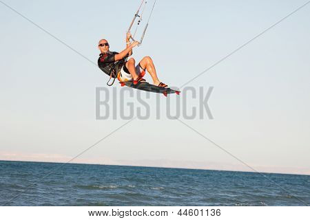 Kiteboarder High Air