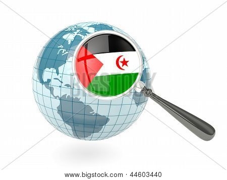 Magnified Flag Of Western Sahara With Blue Globe