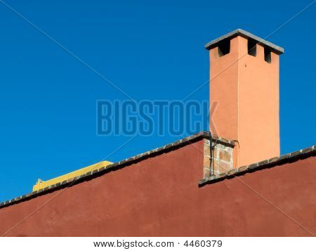 Mexican House Detail Showing Chimney Stack