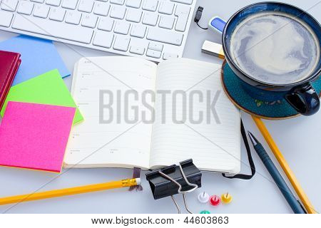 open note book on working table