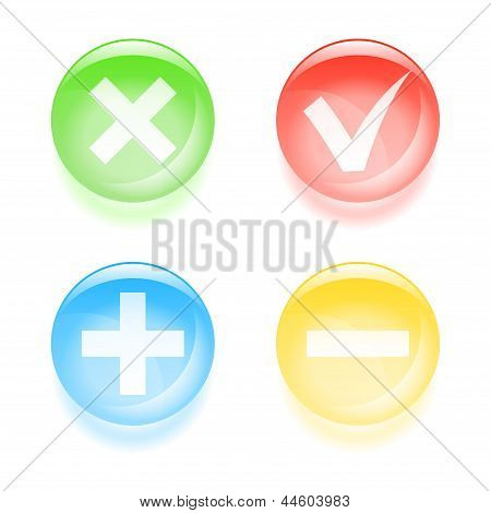 Checkbox Glassy Buttons. Vector Illustration