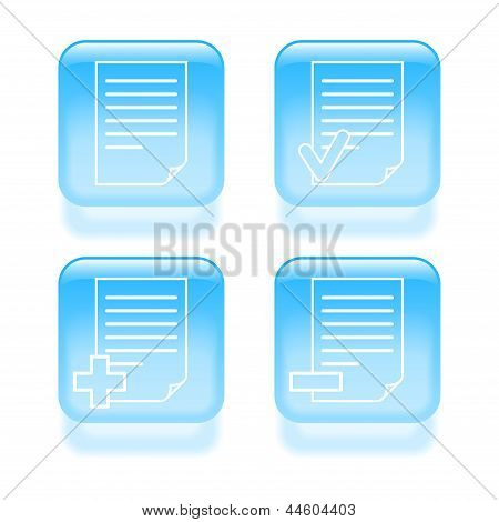 Glassy Document Icons. Vector Illustration