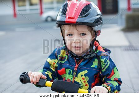 2 Years Old Toddler Riding On His First Bike