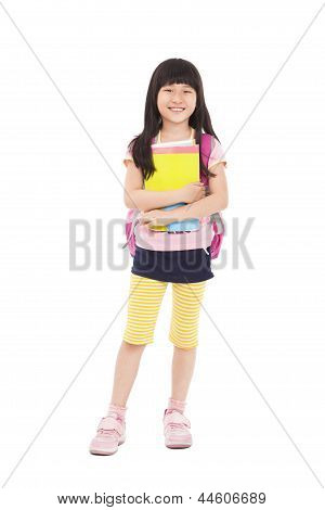 Full Length Of Asian Little Girl Standing And Holding Books