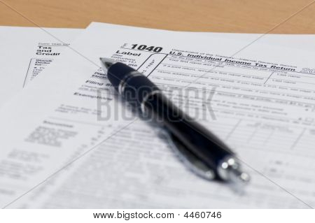 Pen On 1040 Tax Form