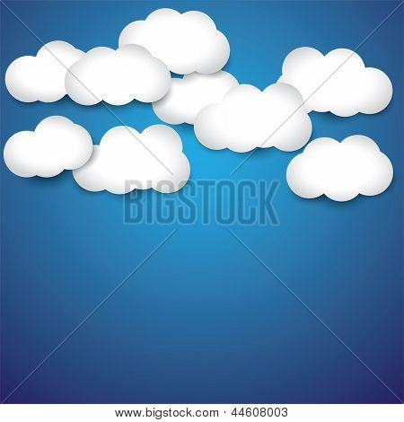 Vector Abstract Background- White Paper Clouds & Blue Sky