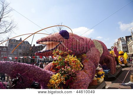Haarlem, The Netherlands - April 21 2013: Pink Lobster With Flowers At Flower Parade On April 21 201