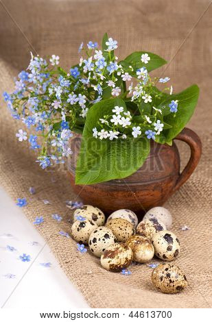 quail eggs and  flowers