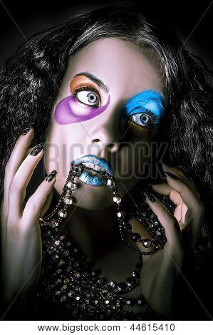 Alternative Fashion Model Face. Bright Makeup