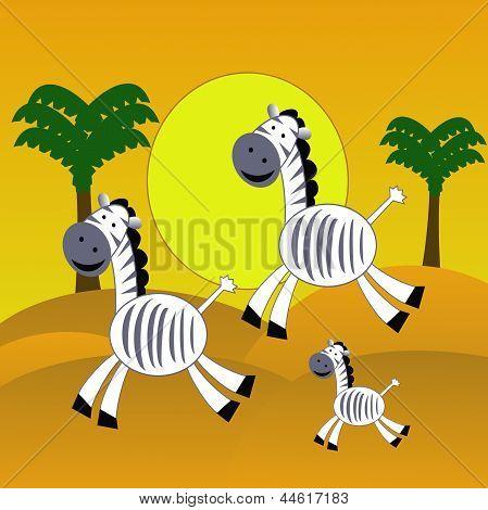 Drei amüsante Zebra beeilen in der Wüste