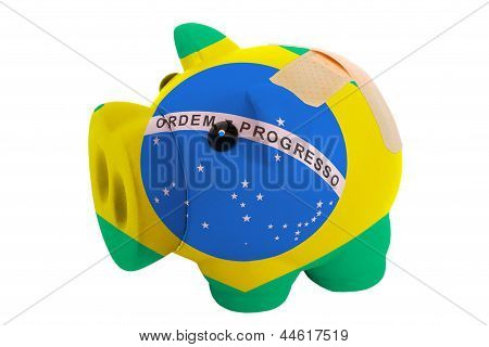 Closed Piggy Rich Bank With Bandage In Colors National Flag Of Brazil