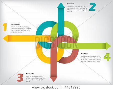 Infografía con flecha cintas y detalles