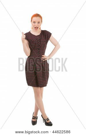 Attractive Redhead Woman Giving A Thumbs Up