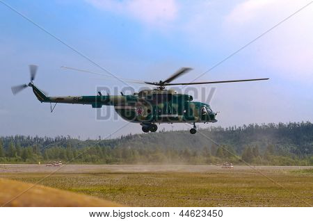 Landing military helicopte