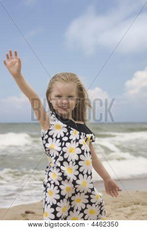 Smiling Cheerful Girl On The Beach Iii