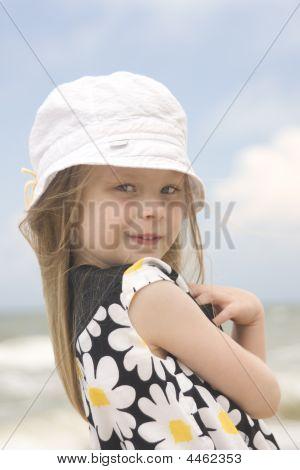 Cheerful Girl In Beautiful Dress And Hat Ii