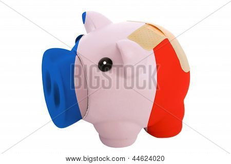 Closed Piggy Rich Bank With Bandage In Colors National Flag Of France