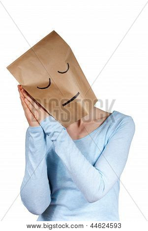 A Sleeping Paper Bag Head