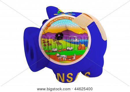 Closed Piggy Rich Bank With Bandage In Colors Flag Of American State Of Kansas