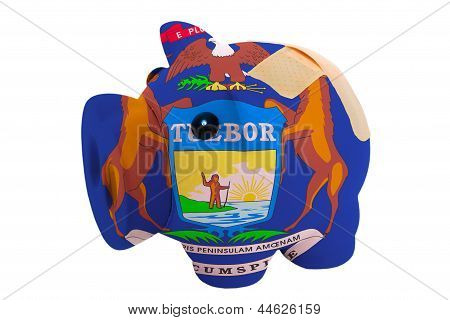 Closed Piggy Rich Bank With Bandage In Colors Flag Of American State Of Michigan