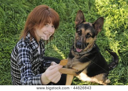 Young woman and dog