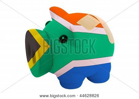Closed Piggy Rich Bank With Bandage In Colors National Flag Of South Africa