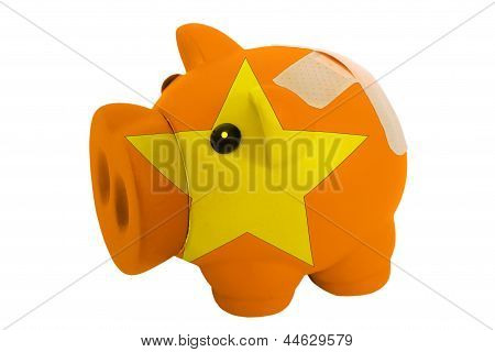 Closed Piggy Rich Bank With Bandage In Colors National Flag Of Vietnam