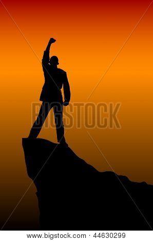 Silhouette Of Seccess Man