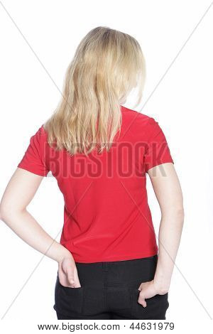 Back View Of A Young Blond Woman