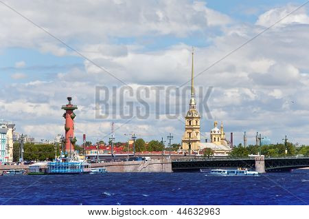 Russia. Petersburg. An arrow of Vasilevsky island and Rostral columns.