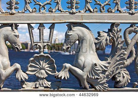 Russia. Petersburg. Ancient grid of Lieutenant Schmidt Bridge