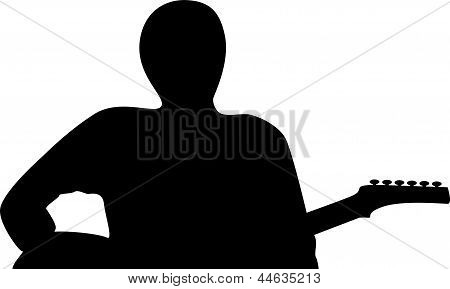 art illustration, Silhouette Of A Guitar Player Isolated Against White Background, art illustration