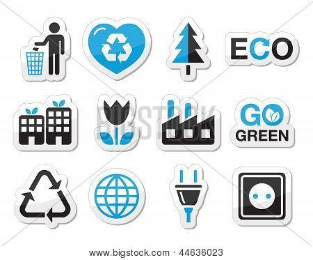 Ecology green icons set
