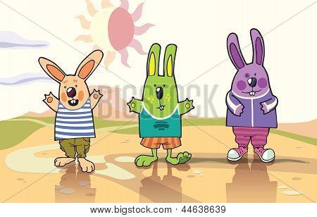 Três coelhos em um deserto