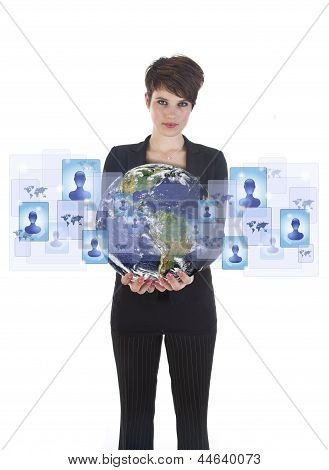 Young Woman Holding Earth With Social Media Symbols Isolated On White