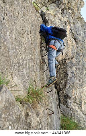 Climber On Via Ferrata