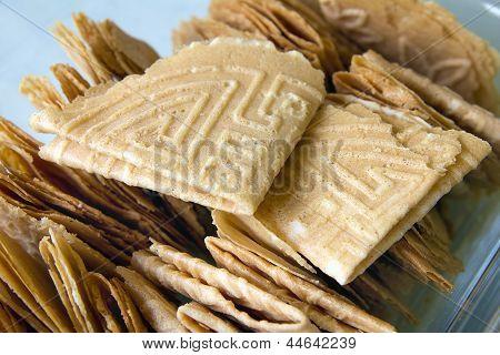 Nyonya Kuih Kapit Egg Biscuits Closeup