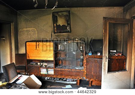 Destroyed interior of a house after a fire
