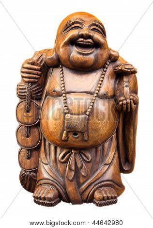 Wooden Happy Buddha