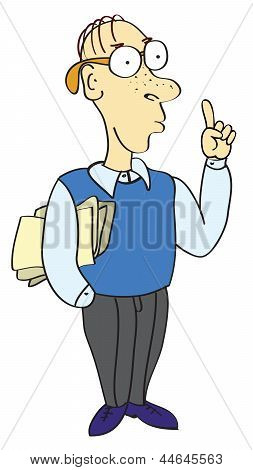 Cartoon Businessman Pointing His Finger At The Top
