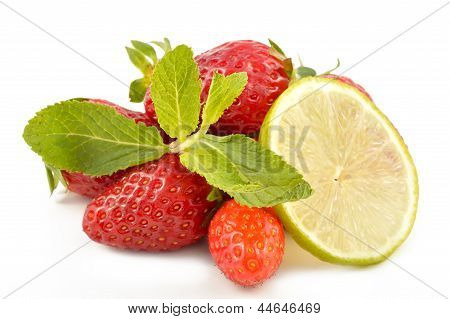 Lime, Strawberry And Mint Leaves